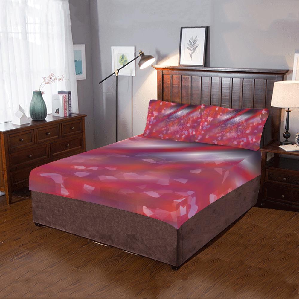 Pink Night Red Line 3-Piece Bedding Set