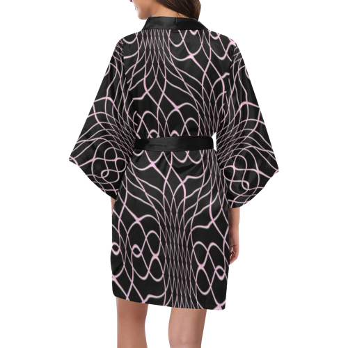 Black Pink Pineapple Twist Kimono Robe