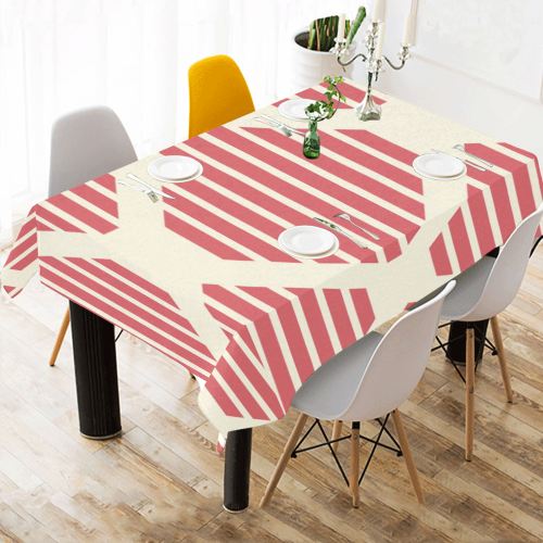 "geometric design Cotton Linen Tablecloth 60""x 84"""