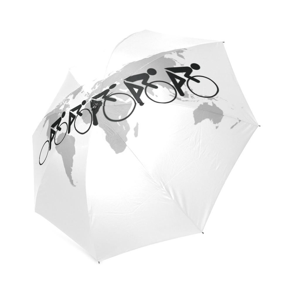 The Bicycle Race 3 Black Foldable Umbrella (Model U01)
