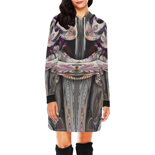 sml 5000DUBLE 55 face'em 7 All Over Print Hoodie Mini Dress (Model H27)