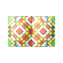 colorful geometric pattern Men's Leather Wallet (Model 1612)