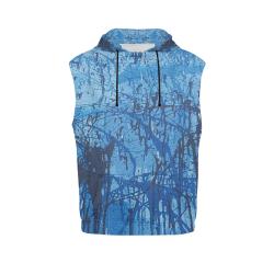 Blue splatters All Over Print Sleeveless Hoodie for Men (Model H15)