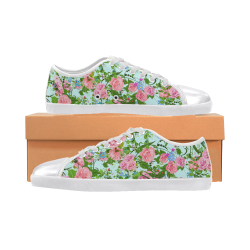 Pink flower pattern Women's Canvas Shoes (Model 016)