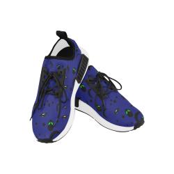 Alien Flying Saucers Stars Pattern (Black/Blue) Women's Draco Running Shoes (Model 025)