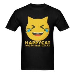 Happycat_men_black Men's T-Shirt in USA Size (Two Sides Printing)