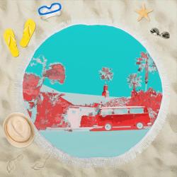 "000coomba-green223 Circular Beach Shawl 59""x 59"""