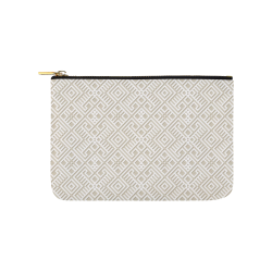 White 3D Geometric Pattern Carry-All Pouch 9.5''x6''