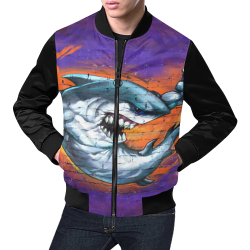 Graffiti Shark (Vest Style) All Over Print Bomber Jacket for Men (Model H19)