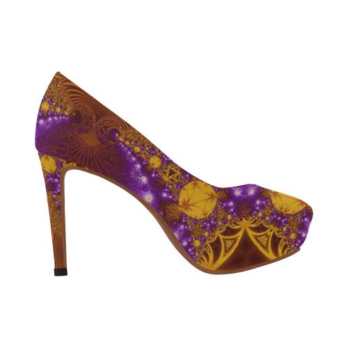 Sunset Jungle Leaves Women's High Heels (Model 044)