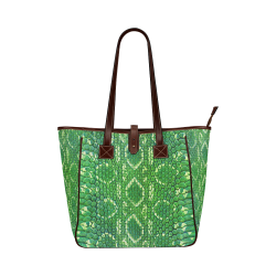 SNAKE LEATHER 5 GREEN Classic Tote Bag (Model 1644)