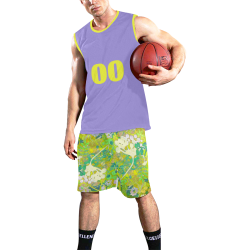 floral abstract shorts with lavendar top All Over Print Basketball Uniform