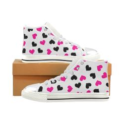 Corazones Women's Classic High Top Canvas Shoes (Model 017)