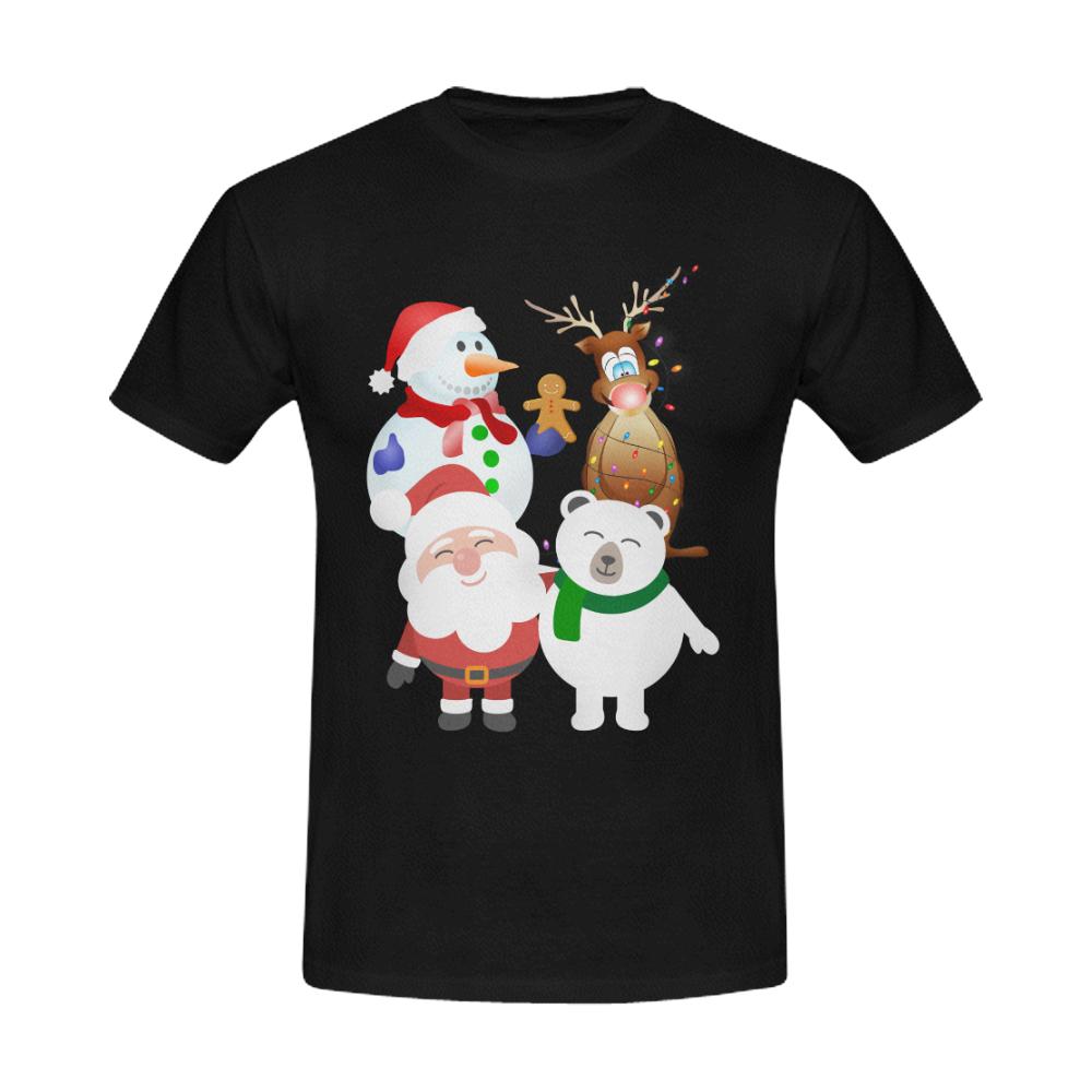Christmas Gingerbread, Snowman, Santa Claus Black Men's Slim Fit T-shirt (Model T13)
