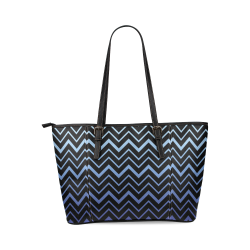 Steel Blue Chevrons on Black Background Leather Tote Bag/Large (Model 1640)