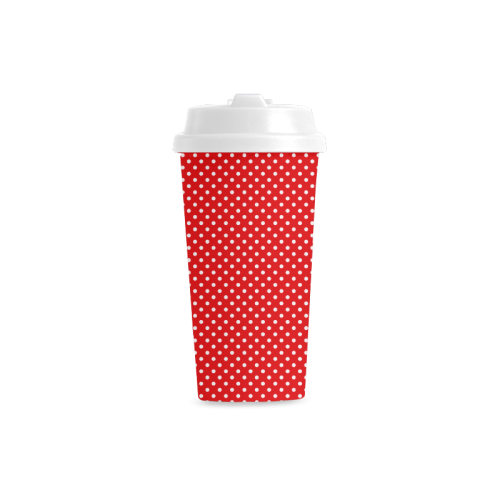 Red polka dots Double Wall Plastic Mug