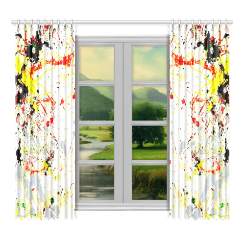 """Black, Red, Yellow Paint Splatter Window Curtain 52""""x96""""(Two Piece)"""