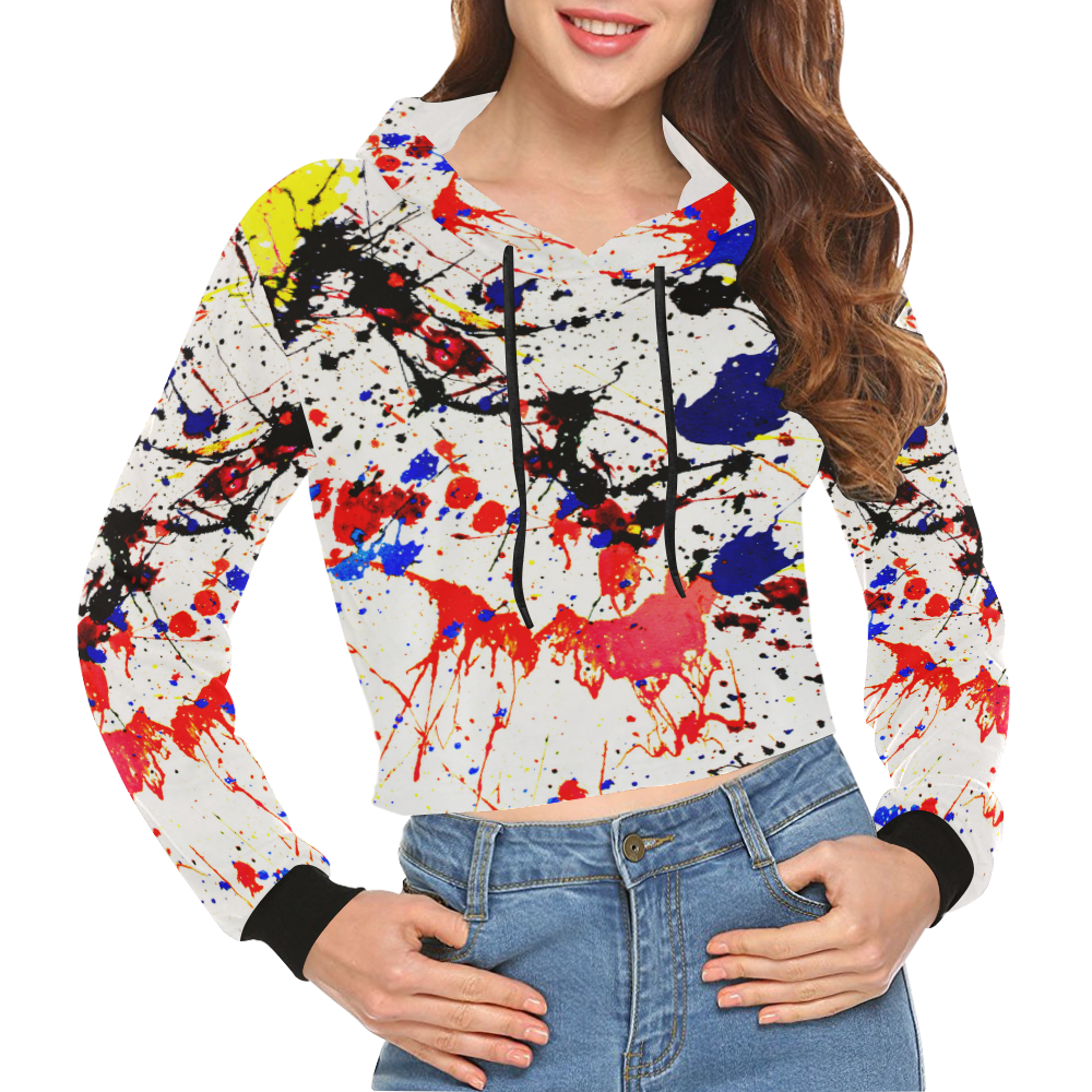 Blue & Red Paint Splatter All Over Print Crop Hoodie for Women (Model H22)