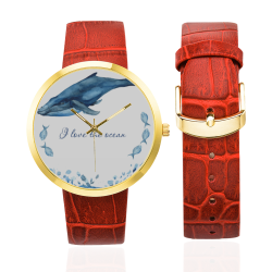 PiccoGrandes I_love the ocean blue-white Women's Golden Leather Strap Watch(Model 212)