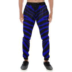 Ripped SpaceTime Stripes - Blue Men's All Over Print Sweatpants (Model L11)