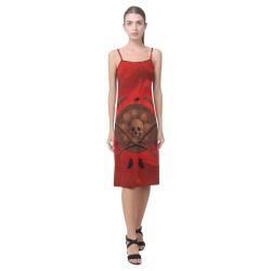 Skulls on red vintage background Alcestis Slip Dress (Model D05)