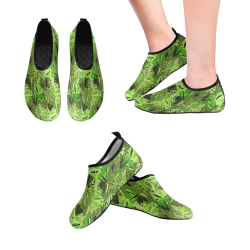Tropical Jungle Leaves Camouflage Women's Slip-On Water Shoes (Model 056)