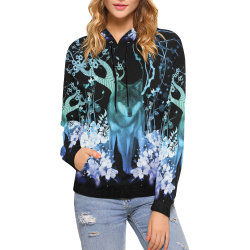 Awesome wolf with flowers All Over Print Hoodie for Women (USA Size) (Model H13)
