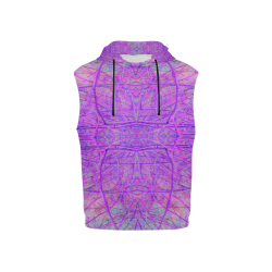 Hot Pink and Purple Abstract Branch Pattern All Over Print Sleeveless Hoodie for Kid (Model H15)