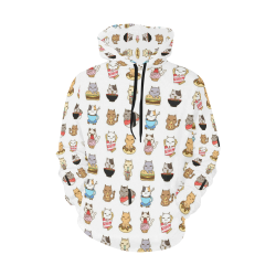 white All Over Print Hoodie for Women (USA Size) (Model H13)