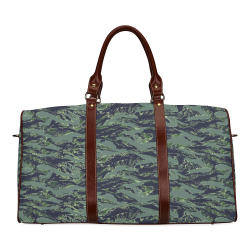 Jungle Tiger Stripe Green Camouflage Waterproof Travel Bag/Large (Model 1639)