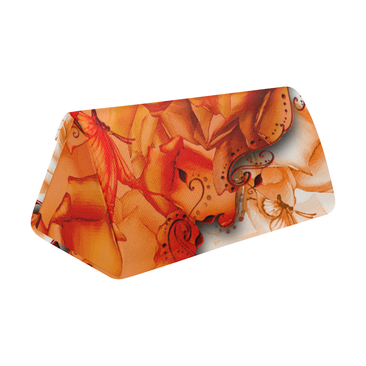 Sorf red flowers with butterflies Custom Foldable Glasses Case