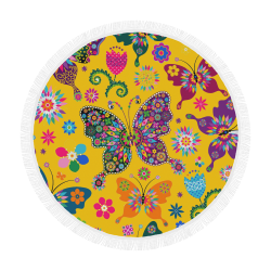 "butterflies and flowers yellow Circular Beach Shawl 59""x 59"""