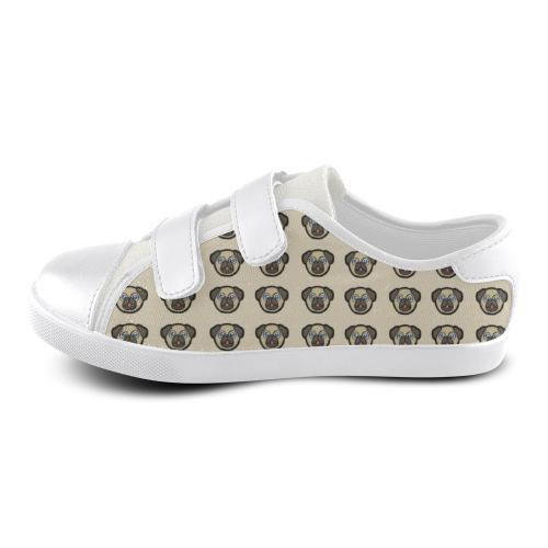 Pug Love Velcro Canvas Kid's Shoes (Model 008)