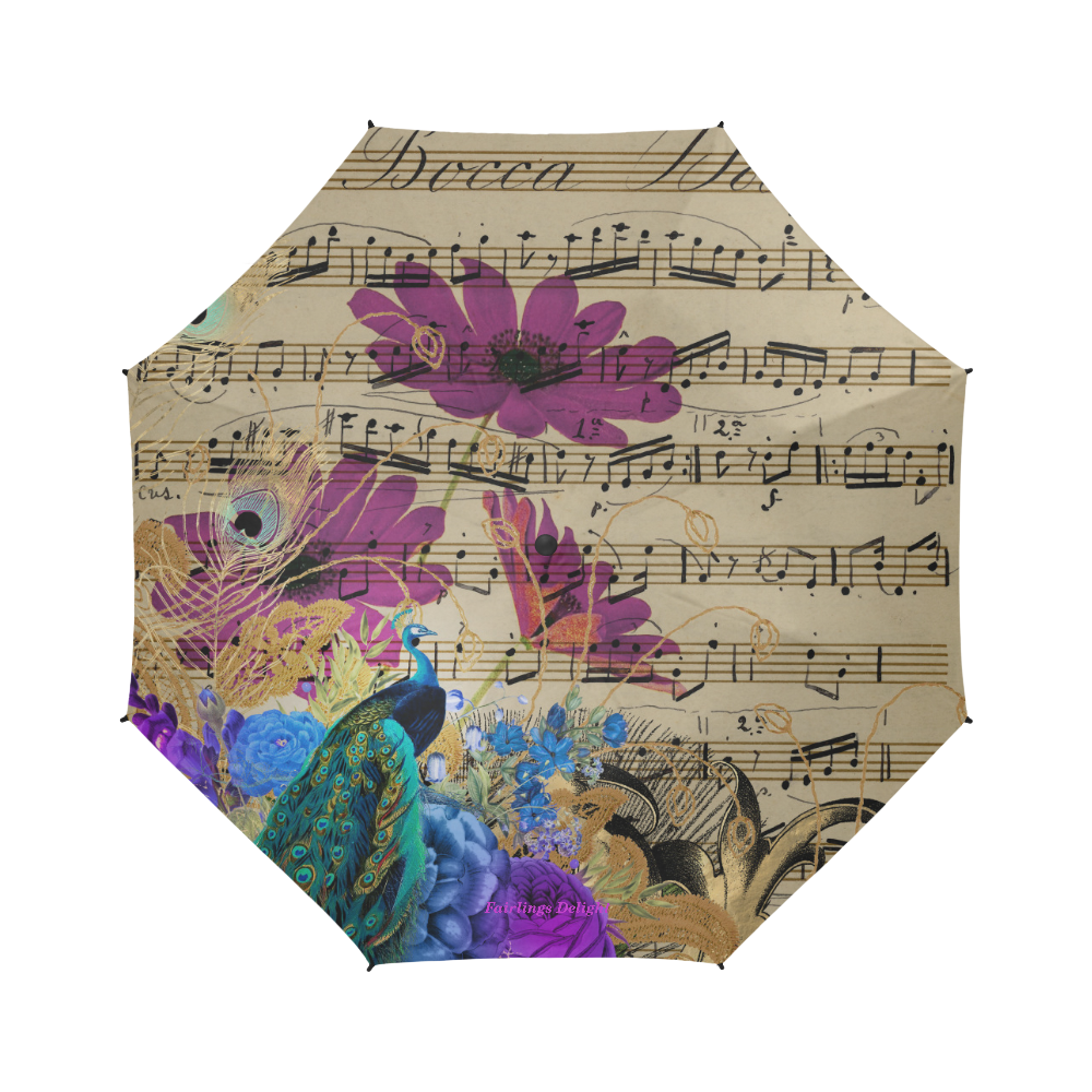 Fairlings Delight's Parasol Collection- Peacock Altered Art 53086a3 Semi-Automatic Foldable Umbrella (Model U05)