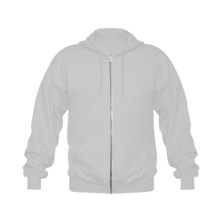 Raven Sugar Skull Grey Gildan Full Zip Hooded Sweatshirt (Model H02)