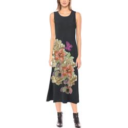 leather floweron black suede Phaedra Sleeveless Open Fork Long Dress (Model D08)