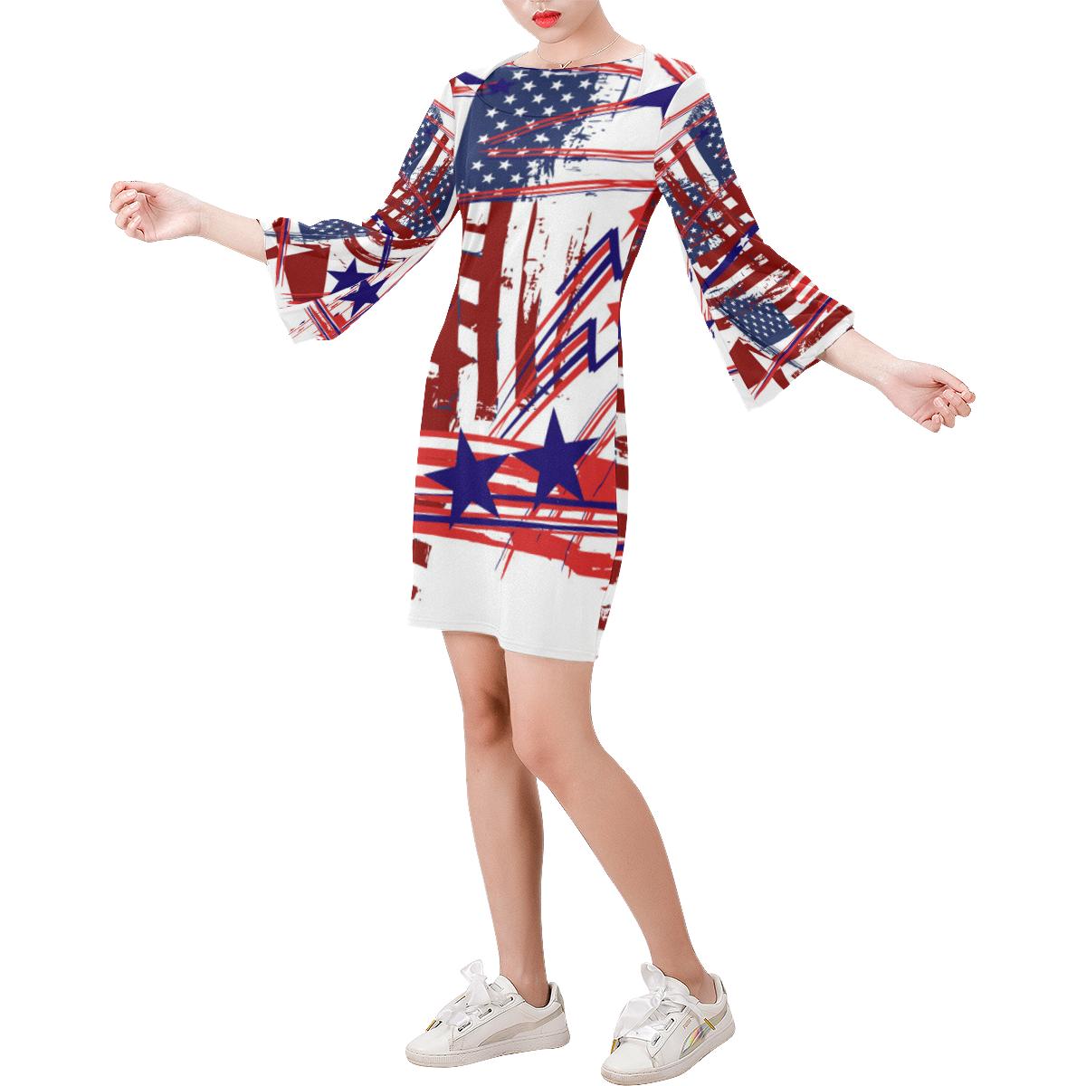 4th of July Bell Sleeve Dress (Model D52)