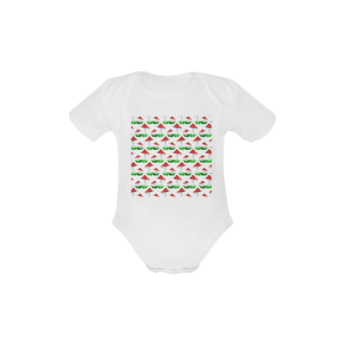 Toadstool red  pattern Baby Powder Organic Short Sleeve One Piece (Model T28)
