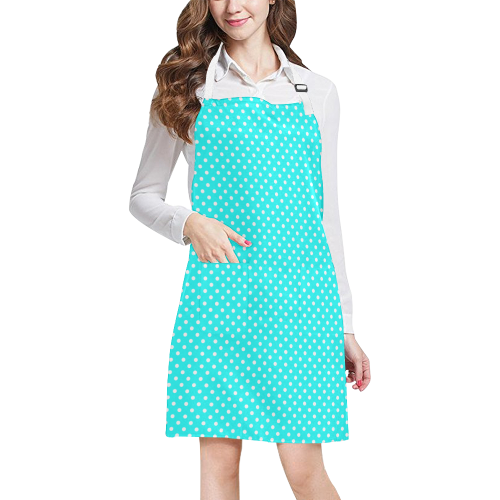 Baby blue polka dots All Over Print Apron