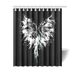 "Phoenix - Abstract Painting Bird White 1 Shower Curtain 60""x72"""