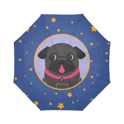 Black Pug In Lavender Circle Stars Auto-Foldable Umbrella (Model U04)