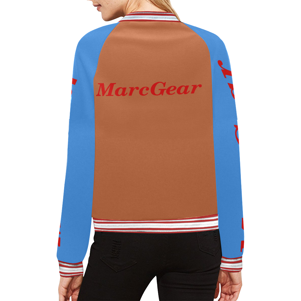 MarcGear Womens WFTBBL All Over Print Bomber Jacket for Women (Model H21)