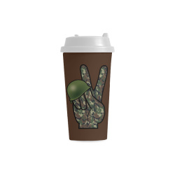 Forest Camouflage Peace Sign on Brown Double Wall Plastic Mug