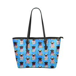 Pugs In Flowers Leather Tote Bag/Small (Model 1651)