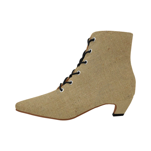 Burlap Coffee Sack Women's Pointed Toe Low Heel Booties (Model 052)