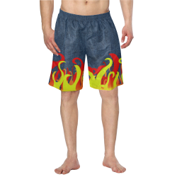 Fire and Flames With Denim Men's Swim Trunk/Large Size (Model L21)