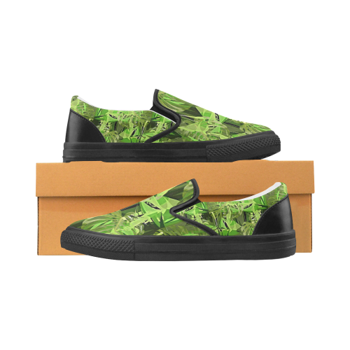 Tropical Jungle Leaves Camouflage Women's Unusual Slip-on Canvas Shoes (Model 019)