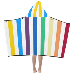 Rainbow Stripes with White Kids' Hooded Bath Towels