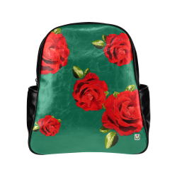 Fairlings Delight's Floral Luxury Collection- Red Rose Multi-Pockets Backpack 53086b11 Multi-Pockets Backpack (Model 1636)