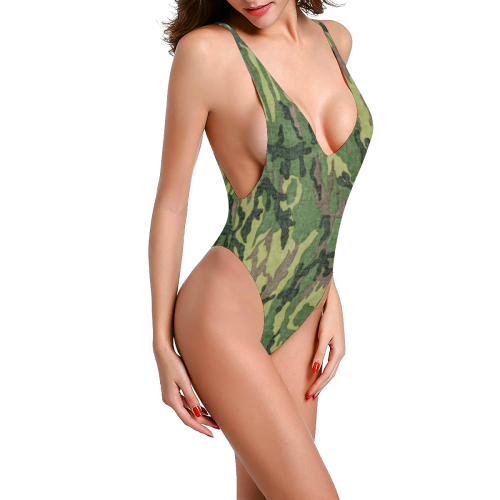 Military Camo Green Woodland Camouflage Sexy Low Back One-Piece Swimsuit (Model S09)